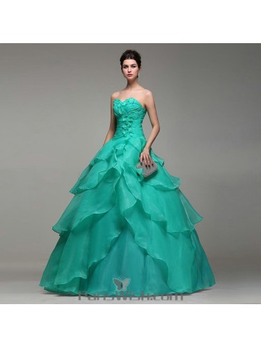 08ba57966a Empire Waist Tiered Organza Mint Quinceanera Dresses With Small Flowers