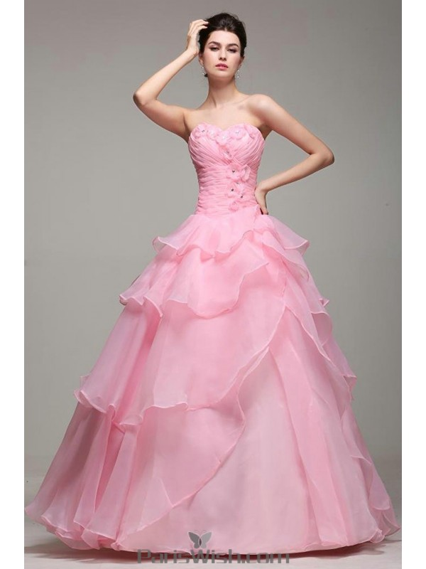 9e60e5d095 Empire Waist Tiered Organza Pink Quinceanera Dresses With Small Flowers