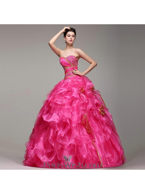 Organza Embroidered Ball Gown Hot Pink Quinceanera Dresses