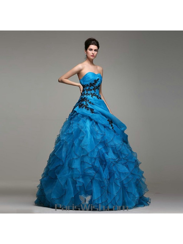 1048f115237 Pleated Organza Blue With Black Quinceanera Dresses With Ruffles