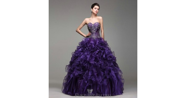 55ead70a930 Satin Organza Beaded Purple Quinceanera Dresses With Ruffles