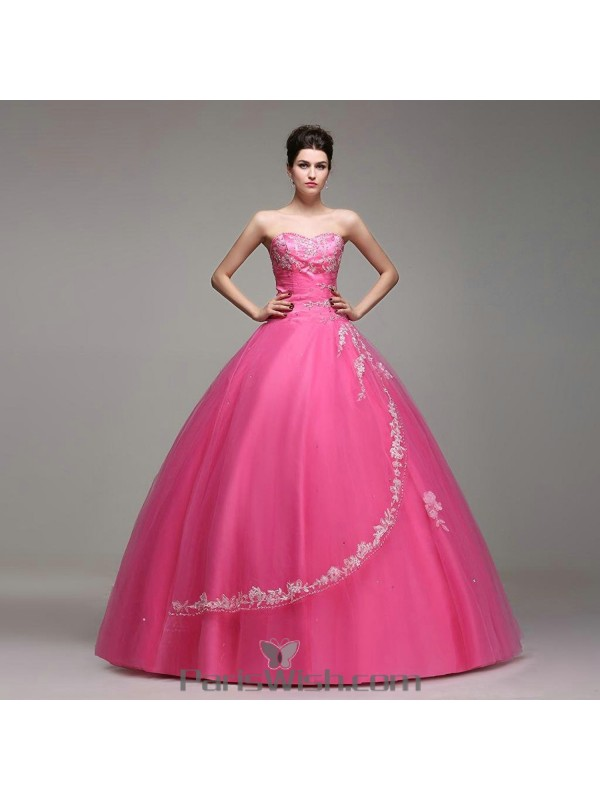 dcd12c28aff28 Satin Tulle Sequin Beaded Hot Pink Quinceanera Dresses