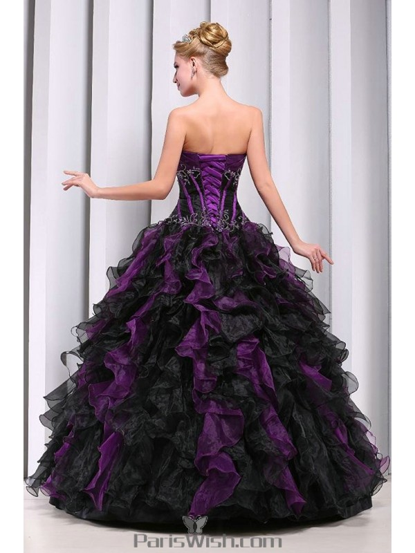 7e0c552dd2a Strapless Beaded Organza Ruffled Black With Purple Quinceanera Dresses