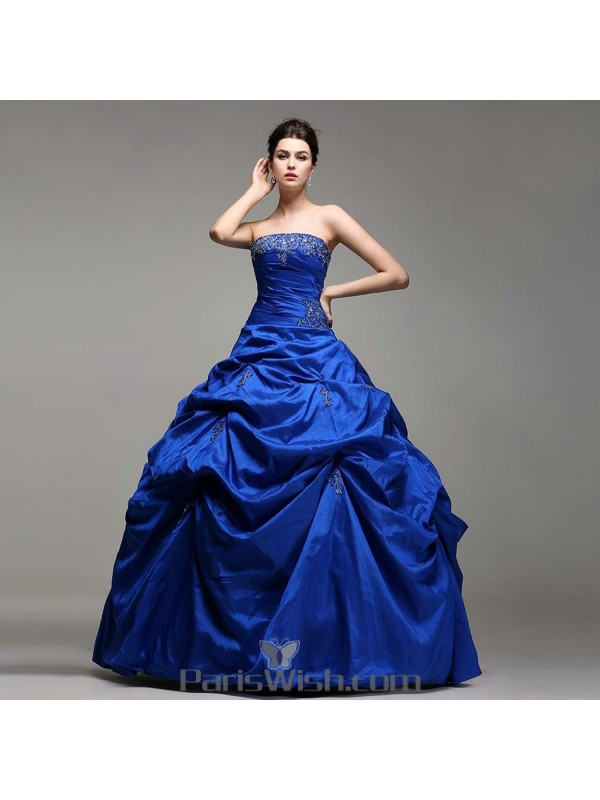 ebff83eb3 Taffeta Strapless Embroidered Beaded Royal Blue Quinceanera Dresses With Pick  Ups