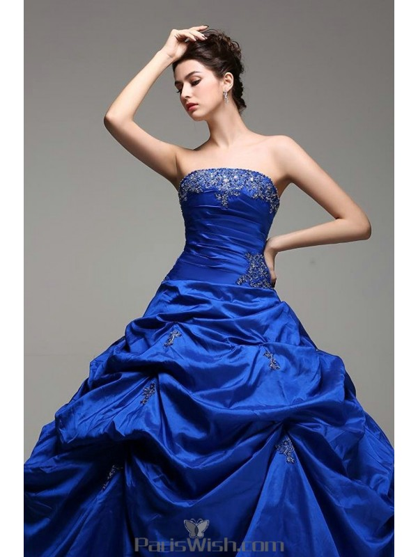 6ef66676d1d Taffeta Strapless Embroidered Beaded Royal Blue Quinceanera Dresses With Pick  Ups