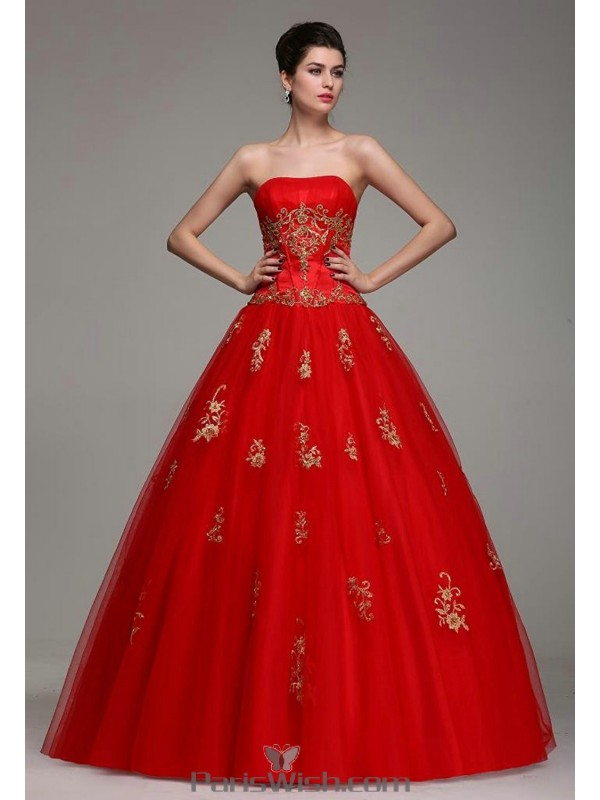 Tulle Sequin Satin Red Quinceanera Gowns With Gold Embroidery