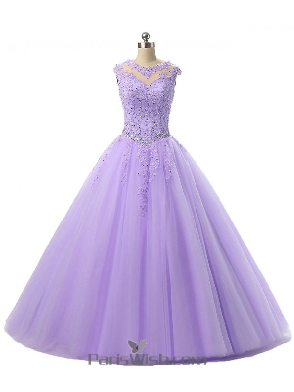 Embroidered Beaded Tulle Lilac Quinceanera Gowns With