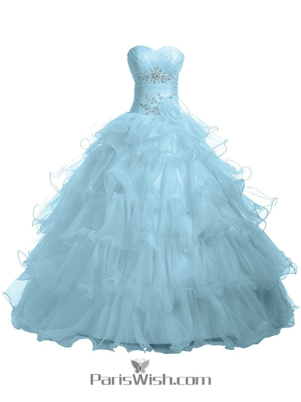 632a5d9391b5 Pleated Tiered Tulle Strapless Empire Baby Blue Quinceanera Dresses