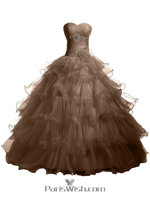 7266885a2b4e Pleated Tiered Tulle Strapless Empire Brown Quinceanera Dresses