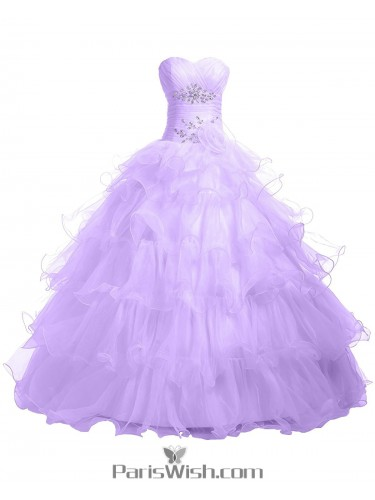 Pleated Tiered Tulle Strapless Empire Light Lavender