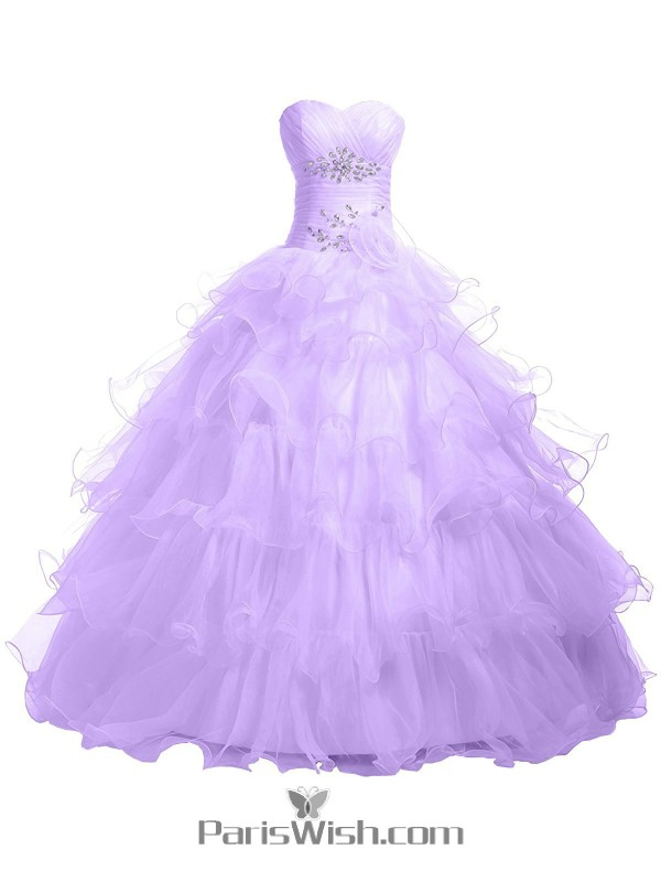 3afbd07b323 Pleated Tiered Tulle Strapless Empire Light Lavender Quinceanera Dresses