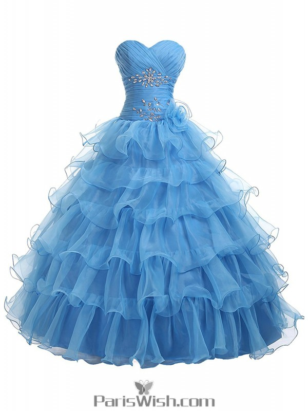 ee0c7091ef31 Pleated Tiered Tulle Strapless Empire Sky Blue Quinceanera Dresses