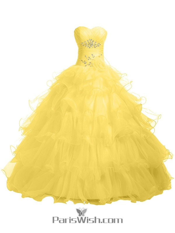 06bac4f24219 Pleated Tiered Tulle Strapless Empire Yellow Quinceanera Dresses