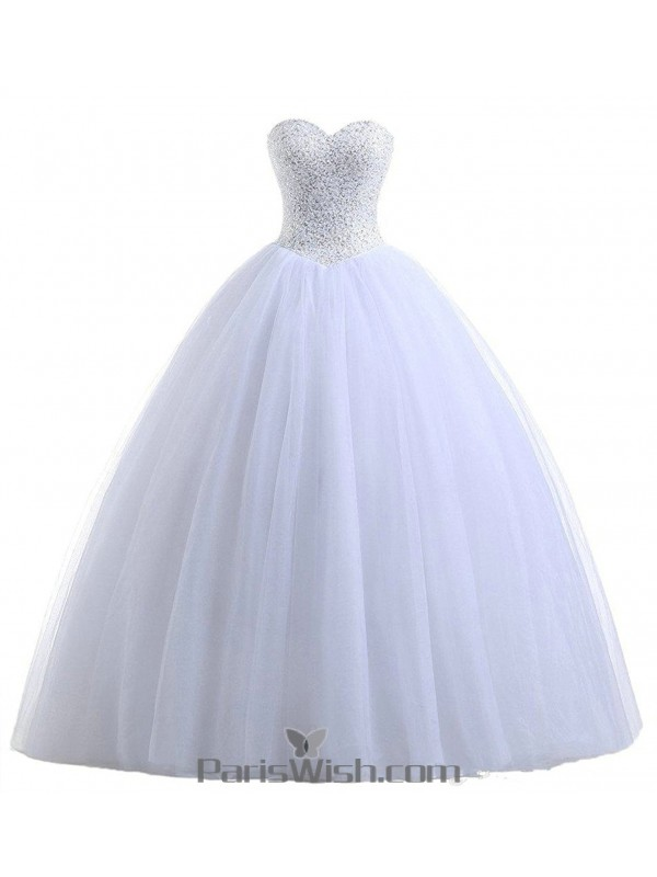 Tulle Sequin Strapless Ball Gown White Quinceanera Dresses