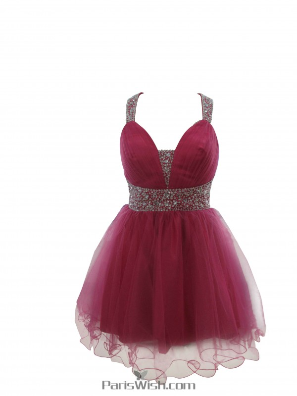 A Line Tulle Beaded Fuchsia Plus Size Prom Formal Dresses Halter ...