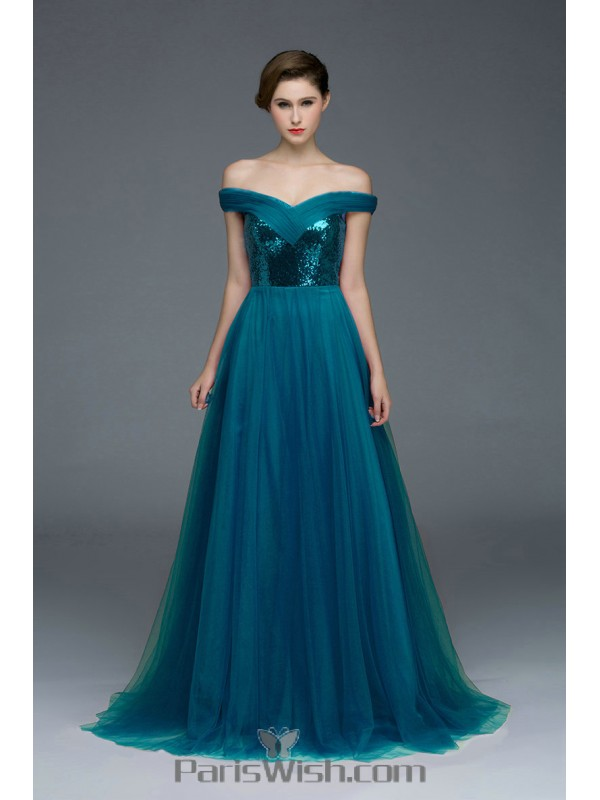 A Line Tulle Off The Shoulder Convertible Formal Prom Dresses