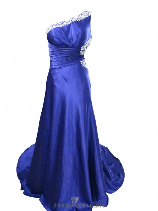 attractive & durable buy sale 2019 professional Beaded One Shoulder Royal Blue Formal Dresses Cut Out Prom Dress