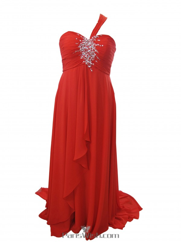 Chiffon Beaded One Shoulder Plus Size Maternity Prom Formal ...