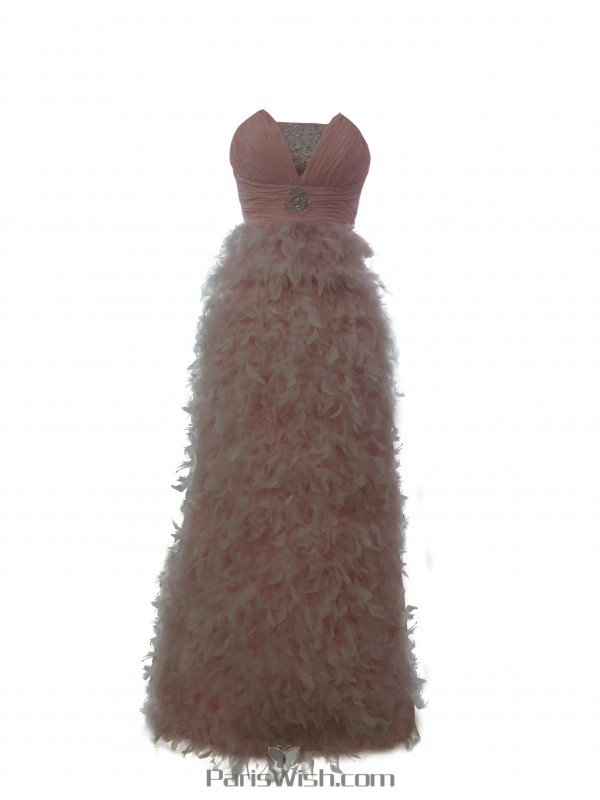Crinkle Chiffon Beaded Feather Prom Pageant Gowns