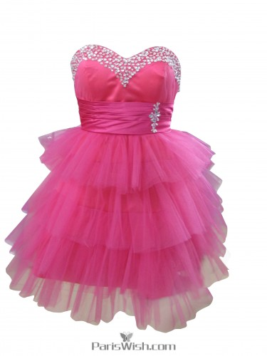 Sweetheart Tulle Plus Size Short Prom Dresses Hot Pink Cocktail Dresses