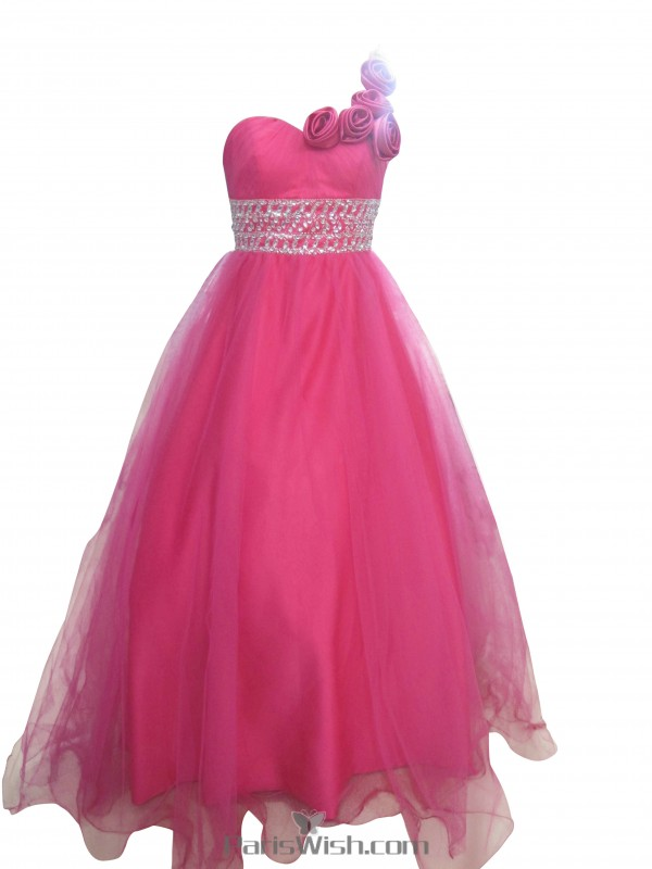 Tulle Beaded One Shoulder Plus Size Ball Gown Formal Dresses With Rosette