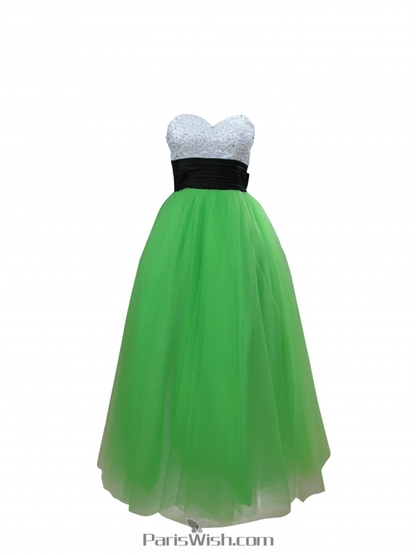 Tulle Green Ball Gown Prom Dresses Plus Size Formal Gowns