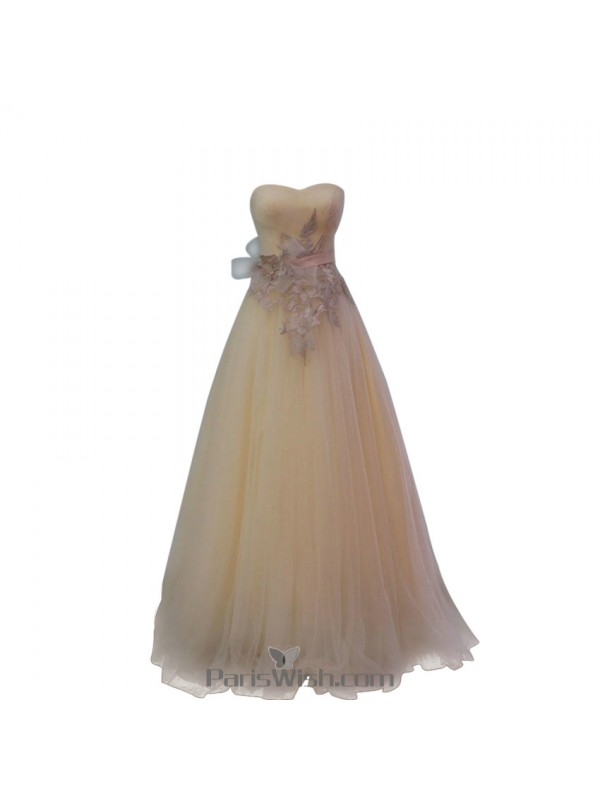 Tulle Silver Ball Gown Prom Formal Dresses With Sash