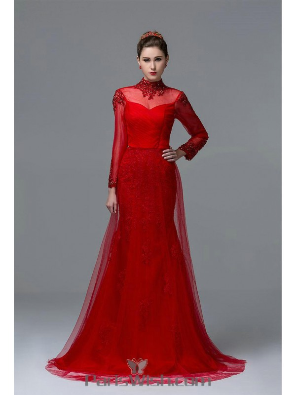 High Collar Illusion Lace Formal Prom Dresses With Long Sleeves