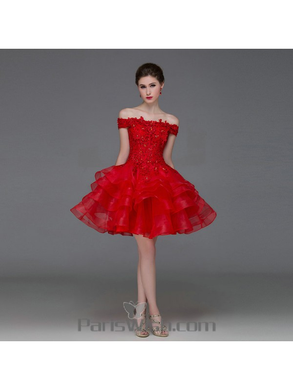 Tiered Organza Red Short Prom Dresses