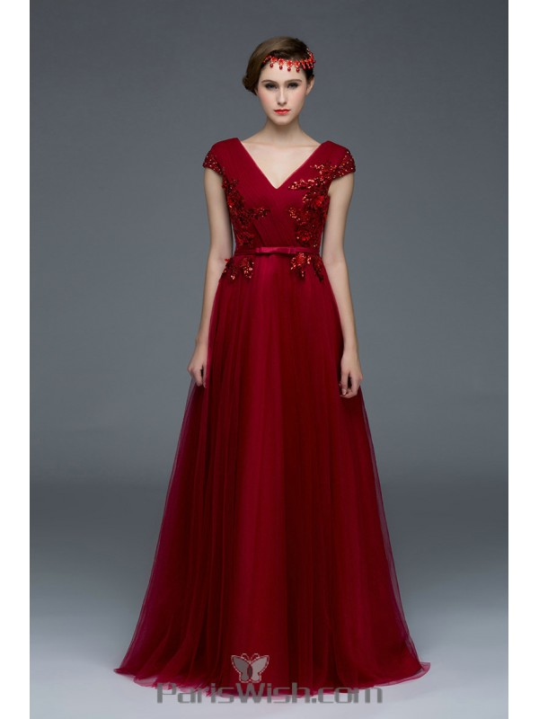 Tulle A Line Burgundy Vintage Prom Formal Dresses With Cap Sleeves