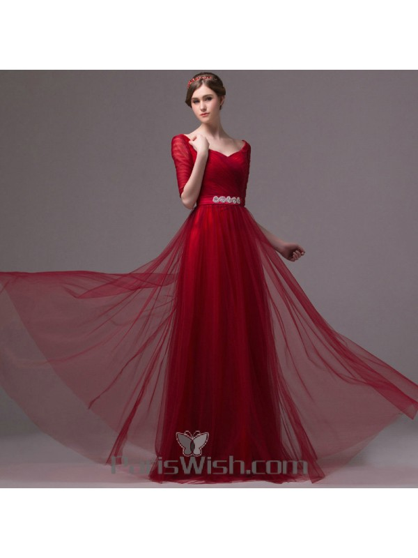 Tulle A line Red Half Sleeves Prom Dresses Under 150