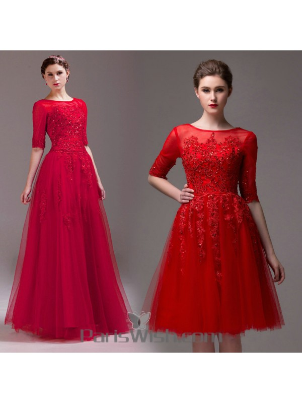 Tulle High Neck Red Lace Convertible Prom Formal Dresses With Sleeves