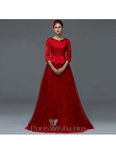 Tulle Red Vintage Peplum Prom Dresses Modest Formal Gown With Sleeves