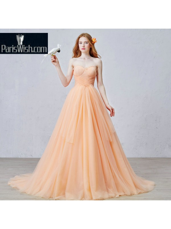 Crinkle Tulle Strapless Peach Ball Gowns For Prom