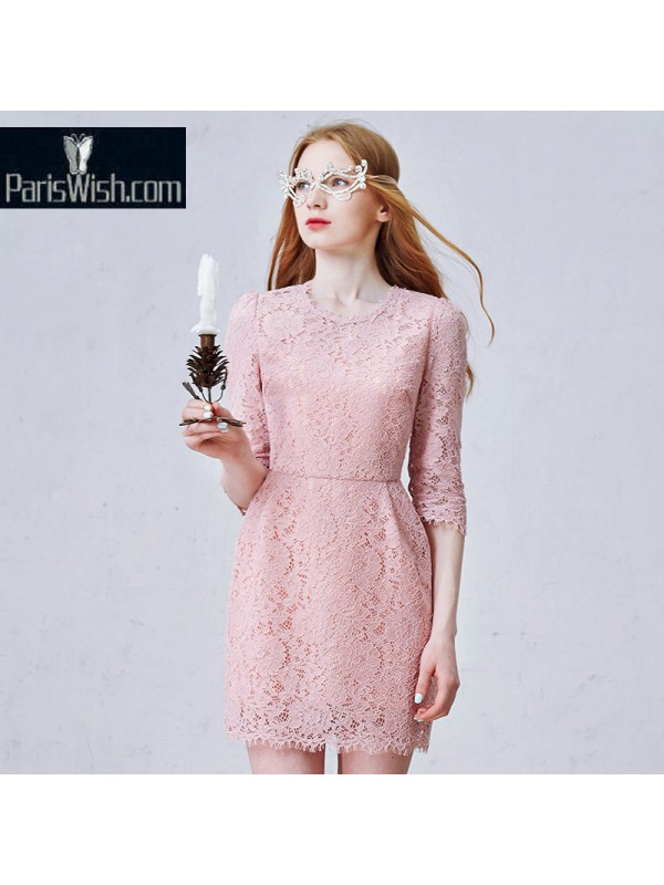 Short Pink Lace Dress