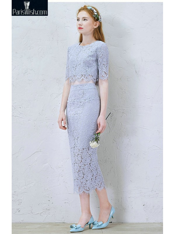 High Neck Light Blue Two Piece Prom Dresses Lace Cocktail Dress