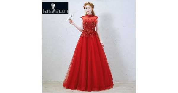 Tulle High Collar Beaded Lace Red Vintage Prom Formal Dresses