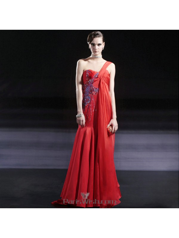Beaded Chiffon Floral Appliqued One Shoulder Red With Blue Formal ...