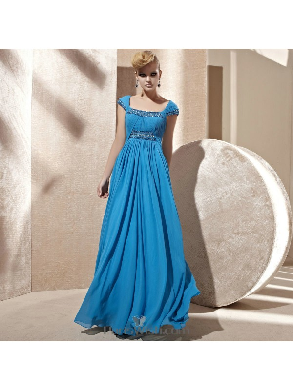 Cap Sleeves Square Bright Blue Prom Formal Dresses With Embellished