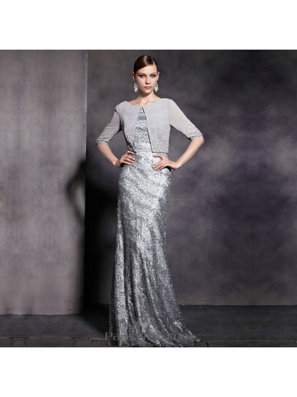 Chiffon Beaded Sequin Silver Mother Of The Bride Dresses Prom Dress ...