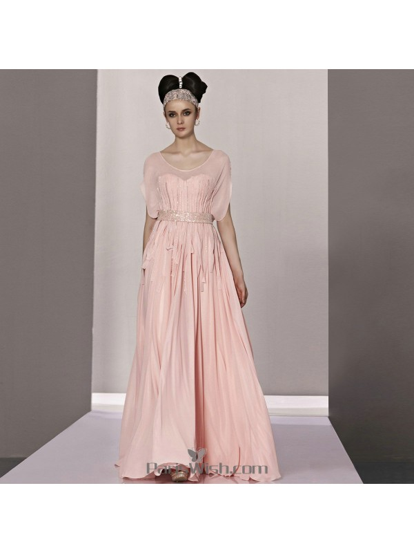 Chiffon Sequin Beaded Pink Flutter Sleeves Evening Prom Dresses