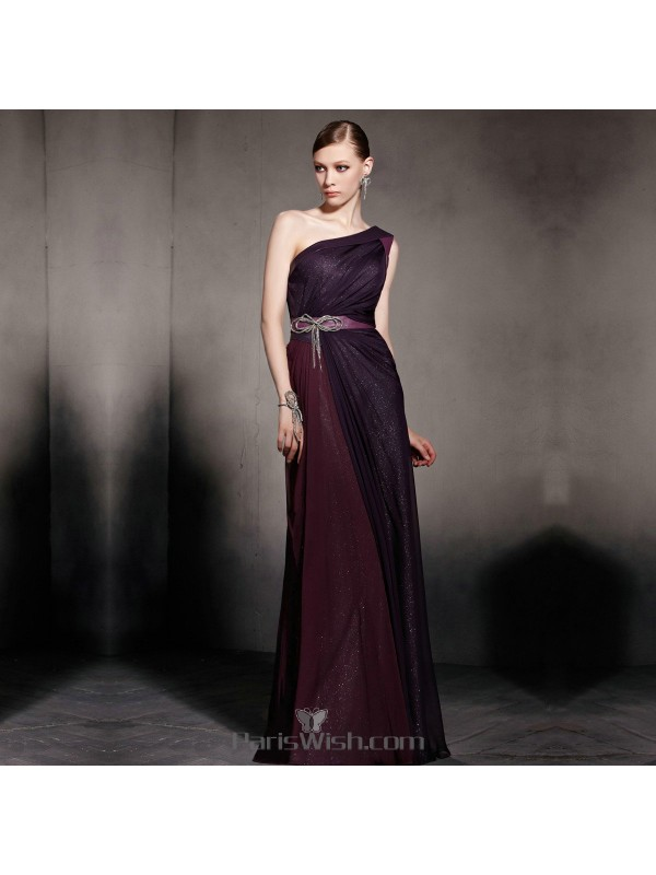 1f2d3a4636c Crinkle Chiffon Glitter Two Tone Purple One Shoulder Evening Gowns With Bow  Waist