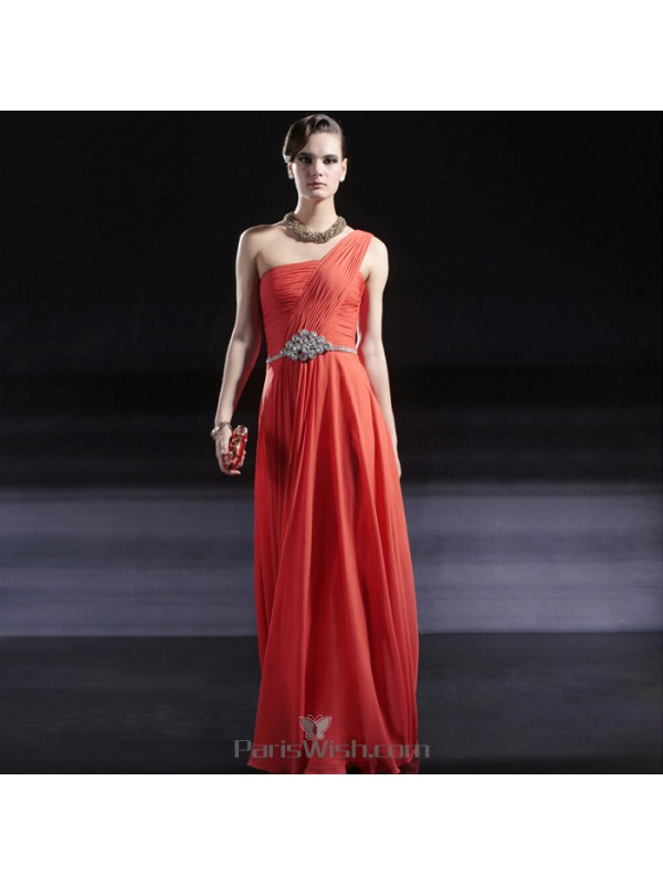 66b7bcdb04 Crinkle Chiffon One Shoulder Long Orange Prom Evening Dresses With ...