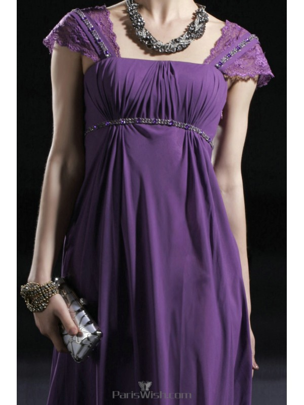 606ddc06e9a Crinkle Chiffon Purple Maternity Evening Prom Dresses With Lace Cap Sleeves