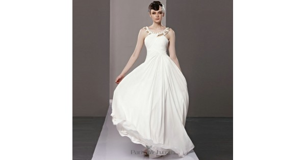 Criss Cross Ruching Halter White Prom Dresses Low Back Beach Wedding Gowns 2c7530020