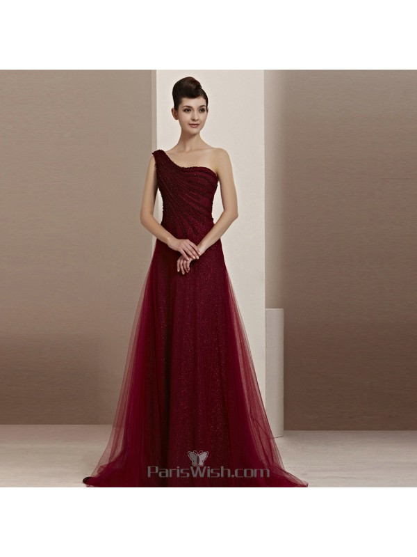 d0cb33ee4ae Glitter Tulle Burgundy One Shoulder Evening Prom Dresses With Illusion Back