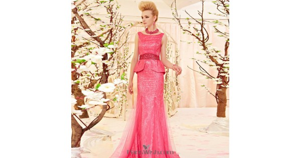 f04a9055ebfd4 High Neck Hot Pink Lace Peplum Formal Prom Dresses With Open Back