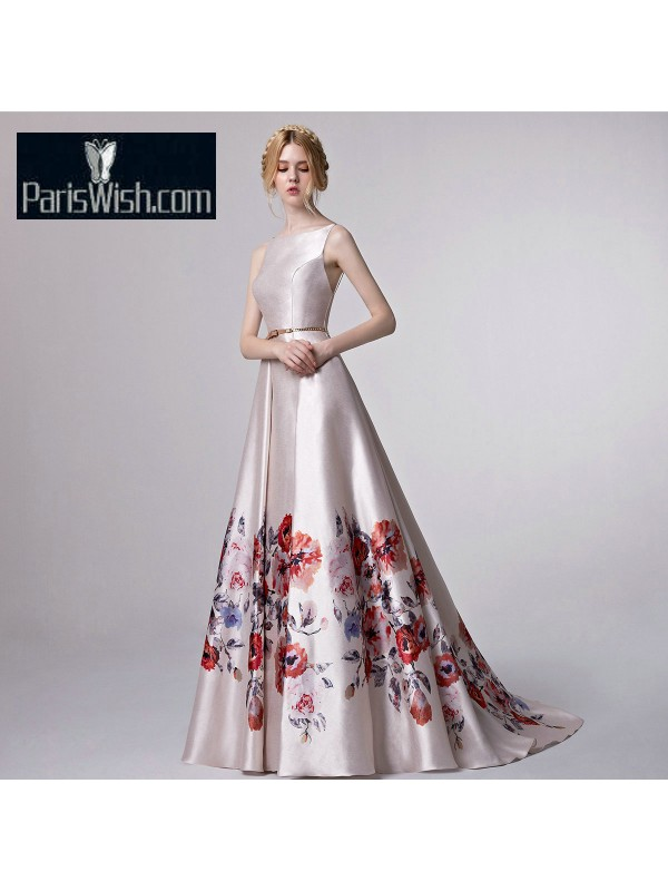 High Neck Satin Floral Silver Print Prom Formal Dresses