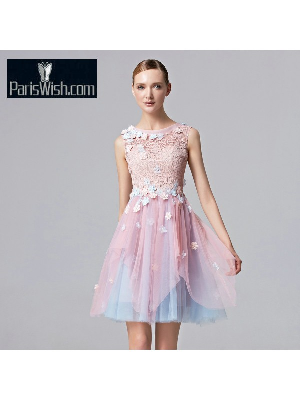 6837b7c30e5e Illusion Neckline Lace Tulle Blue And Pink Cocktail Dress Short Prom  Dresses With Floral Appliques