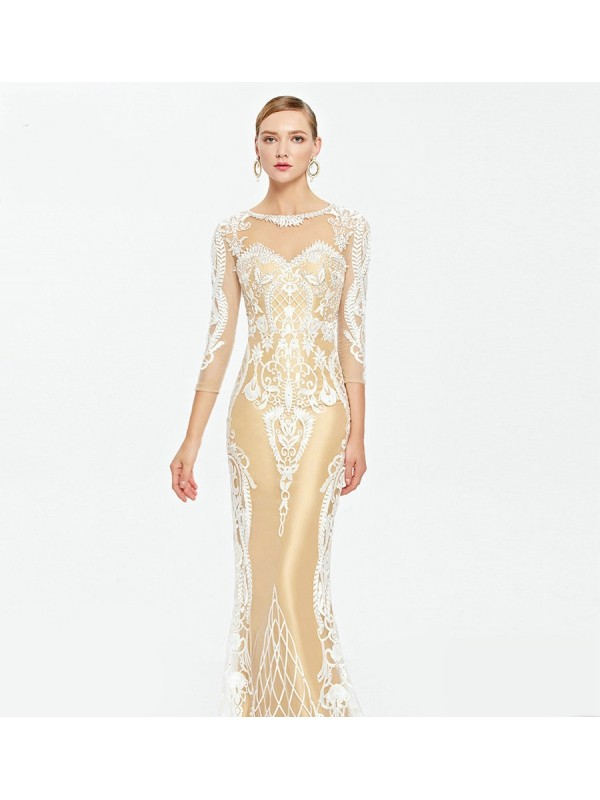 Illusion Neckline White On Nude Embroidered Evening Dresses ...
